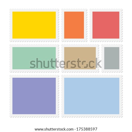 Eight colorful postage stamps, vector blank templates with place for your images and text - stock vector