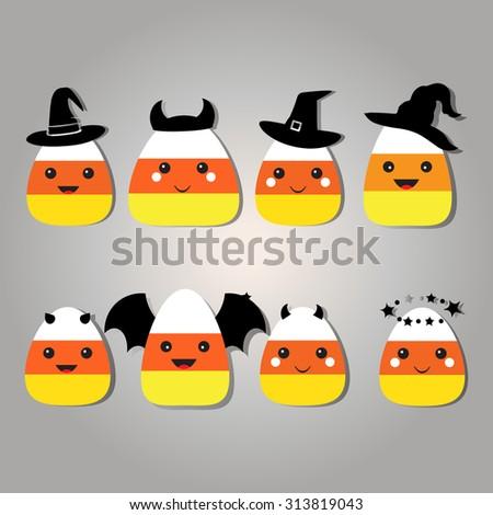 Eight different cartoon candy corn Halloween costumes Candy Corn in Halloween costumes graphics. Candy Corn Cartoon Character. Vector Illustration Isolated. Cartoon illustration of a candy corn.  - stock vector