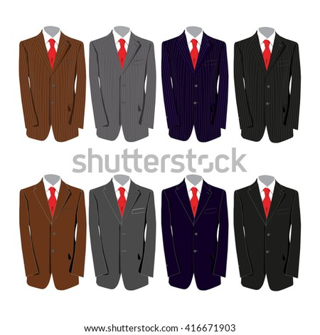 eight different colored suits for a business man - stock vector