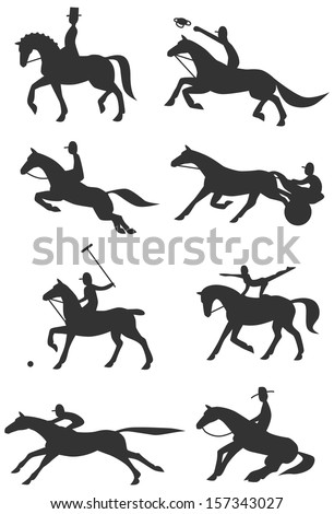 Eight Icons / Silhouettes of famous equestrian sports - stock vector