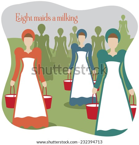 Eight maids a milking Twelve Days of Christmas EPS 10 vector illustration - stock vector