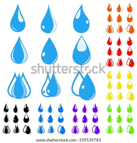 Eight sets of water drops in various colors. Flat design - stock vector