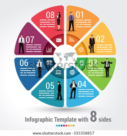Eight sides infographic template, a vector chart with 8 options used for web, banners, reports, presentation and brochures. - stock vector