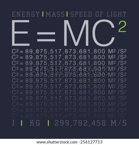 Einstein theory: E=mc2 typography, t-shirt graphics, vectors - stock vector