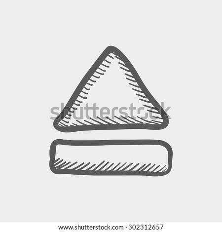 Eject button sketch icon for web and mobile. Hand drawn vector dark grey icon on light grey background. - stock vector