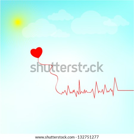 EKG red line heart illustration with a heart shaped kite. Conceptual illustration of heartbeat, electrocardiogram. Vector illustration - stock vector