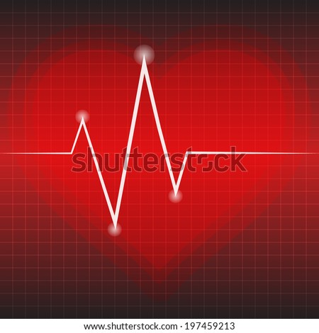 EKG tracing diagram with heart on red background. Vector illustration. - stock vector