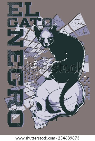 El gato negro, The Black Cat in Spanish - stock vector