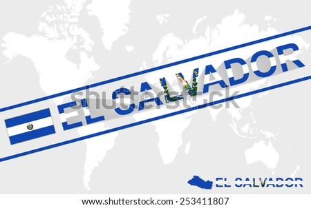 El Salvador map flag and text illustration, on world map - stock vector