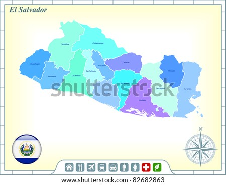 El Salvador Map with Flag Buttons and Assistance & Activates Icons Original Illustration - stock vector