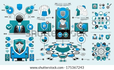 elaborate set of infographics - stock vector