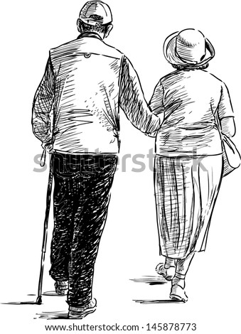 elderly couple on a walk - stock vector