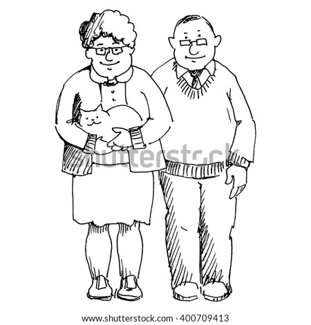 Elderly man and a woman. Grandfather and grandmother.  Drawing by hand - stock vector