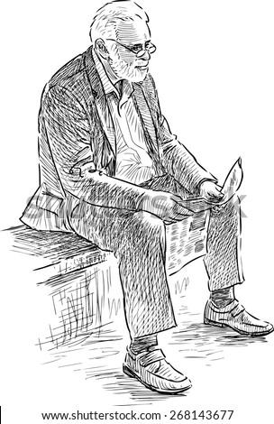 elderly man reads a newspaper - stock vector