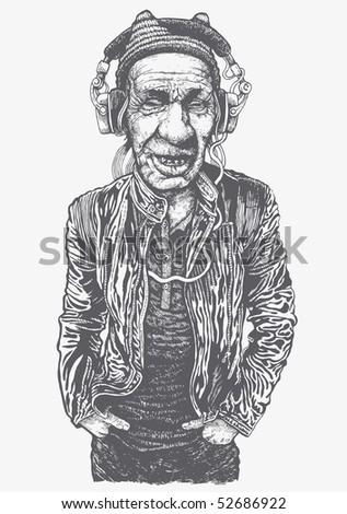 elderly man with headphones listening to music. vector illustration - stock vector