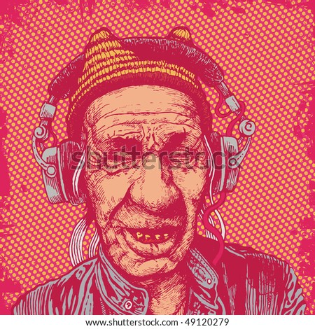 elderly man with headphones listening to music. vector illustration for CD cover - stock vector