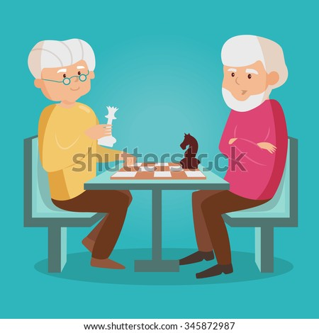 Elderly people playing chess. Vector isolated illustration. Cartoon character. - stock vector