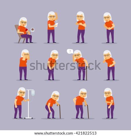 Elderly woman sick. Granny ill and sickness vector illustration - stock vector