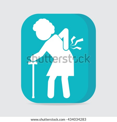Elderly woman with stick and injury of the back pain icon, Old people sign - stock vector