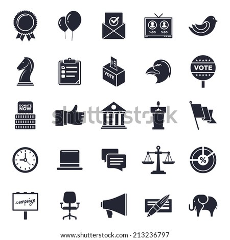Election and voting theme, black and white icons. - stock vector
