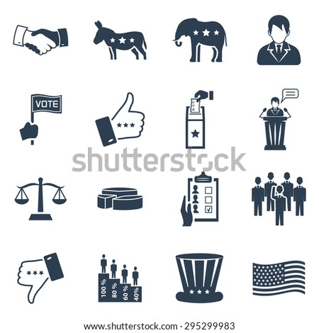 Election and voting vector icon set - stock vector