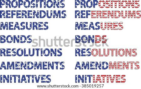 Election Ballot Items Proposition Measure Bond Amendment - stock vector