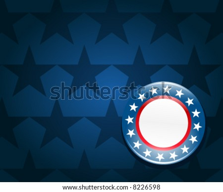 Election campaign button on blue background - stock vector