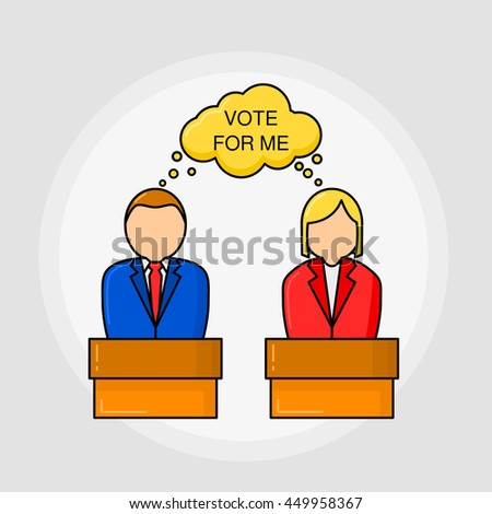 """Election. Candidates on tribunes with the quote """"Vote for me"""". Linear style. Political concept. - stock vector"""