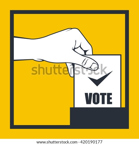 Election - hand throws vote bulletin into box - stock vector