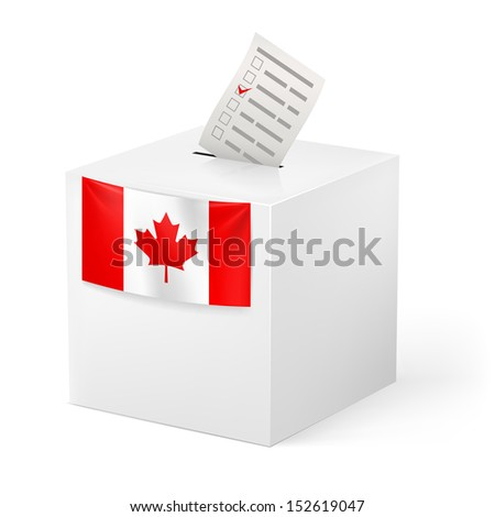 Election in Canada: ballot box with voicing paper isolated on white background. - stock vector