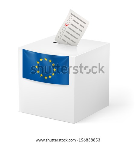 Election in European Union: ballot box with voicing paper isolated on white background. - stock vector