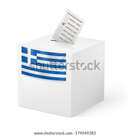 Election in Greece: ballot box with voicing paper isolated on white background - stock vector