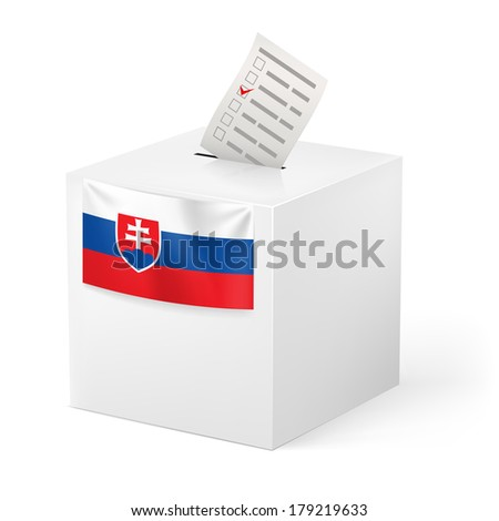 Election in Slovakia: ballot box with voting paper on white background - stock vector