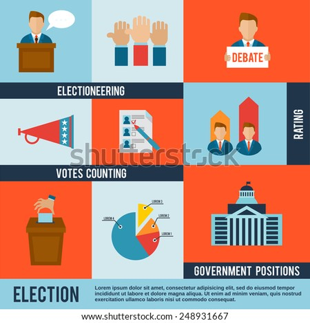 Election votes counting debate and rating icon flat set isolated vector illustration - stock vector