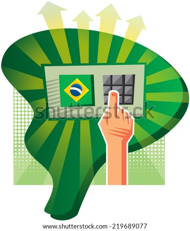 Elections in Brazil are made with an electronic voting machine - stock vector