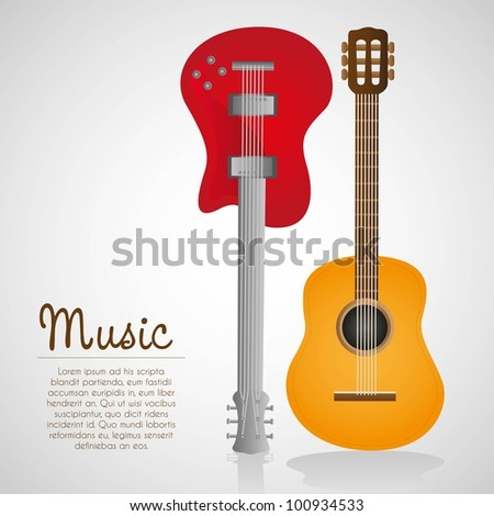 electric and acoustic guitar, on white background, vector illustration - stock vector