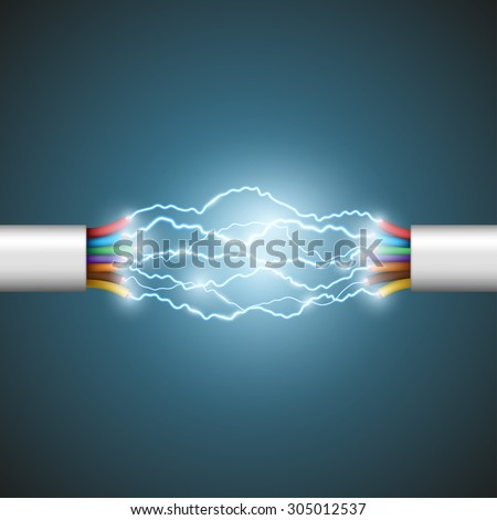 Electric arc between the wires. Electrical circuit. Stock Vector. - stock vector