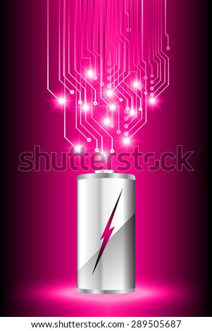 electric battery energy, vector illustration, dark pink Light Abstract Technology background for computer graphic website internet. wave. silver. circuit. spark. bolt. thunderbolt. thunder - stock vector
