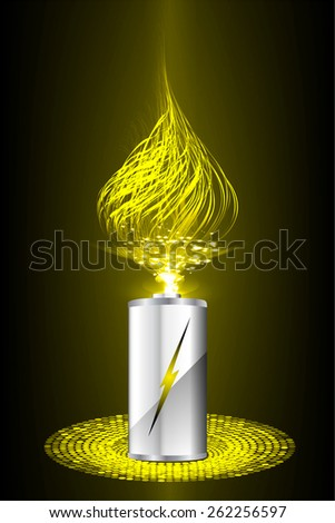 electric battery energy, vector illustration, dark yellow Light Abstract Technology background for computer graphic website internet. wave. silver. fire - stock vector