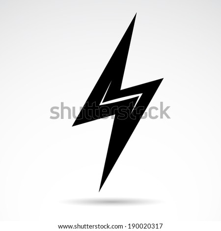 Electric bolt icon isolated on white background, Vector illustration. - stock vector