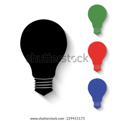 electric bulb icon - black and colored (green, red, blue) illustration with shadow - stock vector