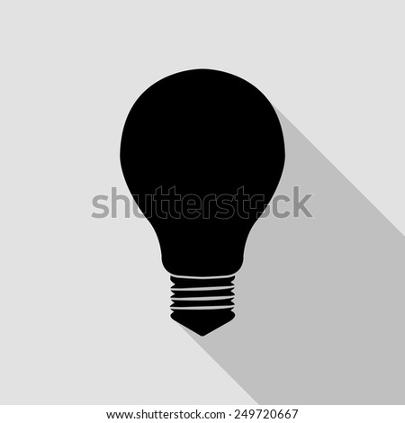 electric bulb icon - black illustration with long shadow - stock vector