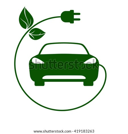 Electric car, bio fuel, eco-friendly vehicle icon Vector Illustration. Electric car sign. Electric car symbol. Electric car icon. Electric car picto. Electric car pictogram. Electric car pictograph. - stock vector