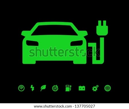 Electric car charging point icon - stock vector