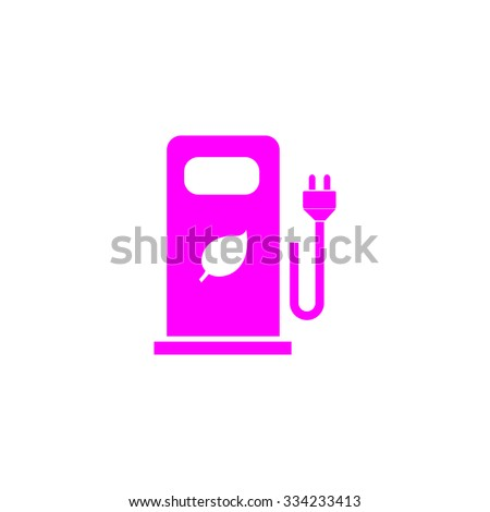 Electric car charging station or Bio fuel petrol. Pink flat icon. Simple vector illustration pictogram on white background - stock vector