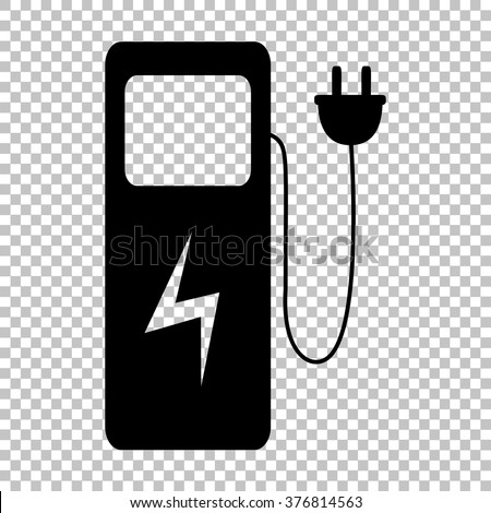 Electric car charging station sign. Flat style icon on transparent background - stock vector