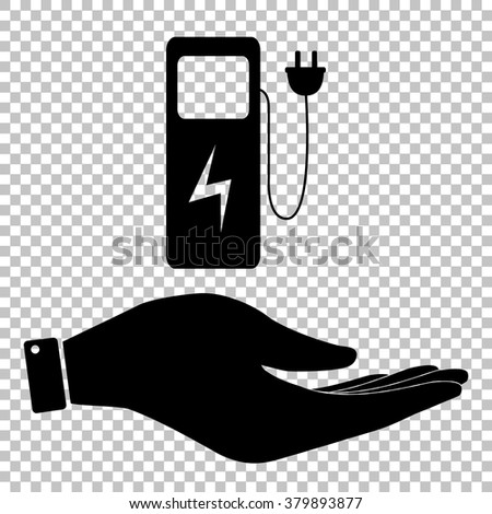 Electric car charging station sign. Save or protect symbol by hand - stock vector