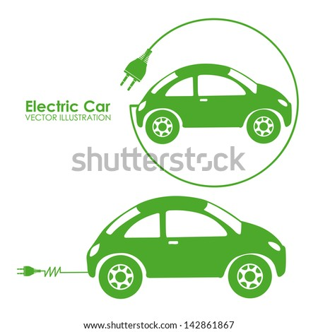 electric car design over white background vector illustration - stock vector