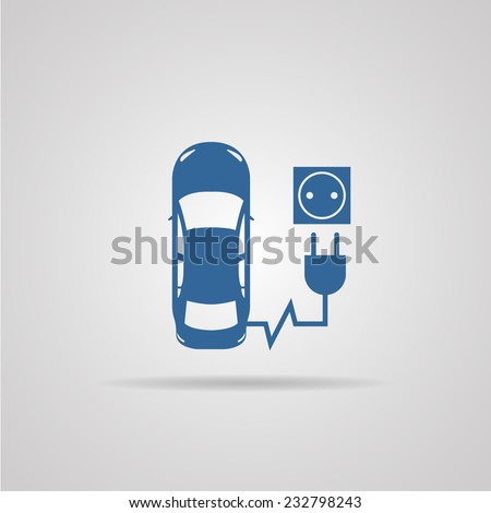 electric car, electric vehicle, refill icon isolated on background. vector illustrations - stock vector