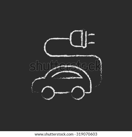 Electric car hand drawn in chalk on a blackboard vector white icon isolated on a black background. - stock vector